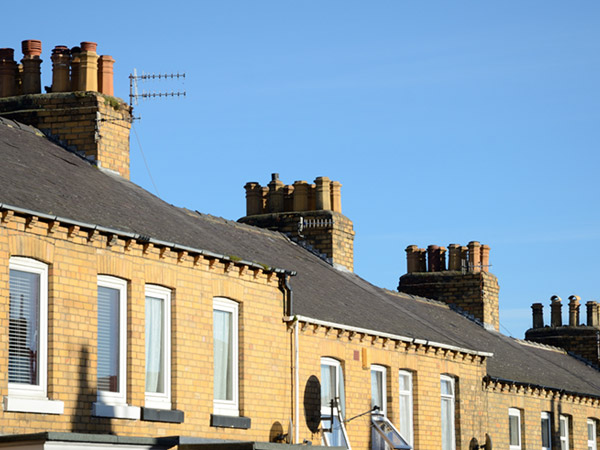 Row of chimneys Dublin Ireland