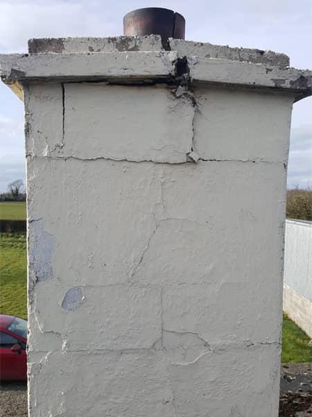 Example of damaged chimney stack